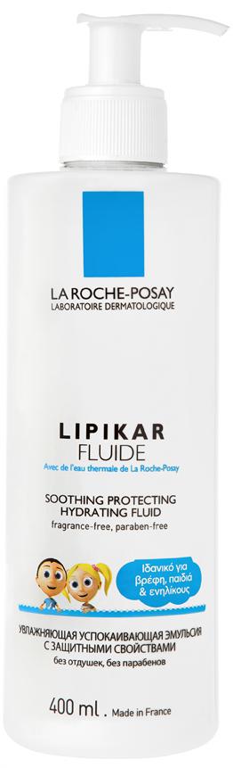 LA ROCHE-POSAY Lipikar Fluide Eνυδατικό Γαλάκτωμα με Καταπραϋντική και Προστατευτική Δράση, Δώρο Cicaplast, 400ml & 15ml