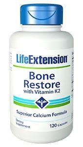 Life Extension Bone Restore with Vitamin K2 συμπλήρωμα διατροφής Για τη διατήρηση της φυσιολογικής κατάστασης των οστών 120 καψουλες
