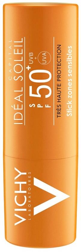 VICHY  Ideal Soleil Stick SPF50+ Αντηλιακό Στικ για τις Ευαίσθητες Ζώνες (μύτη, μάγουλα, ντεκολτέ), 9gr