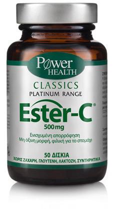 POWER HEALTH Classics Platinum Ester C 500mg Βιταμίνη C Υψηλής Απορρόφησης - Ενίσχυση της Άμυνας, 50Tabs